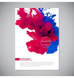 Business template with pink and blue ink in water vector