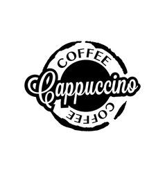 Cappuccino coffee stain badges black and White vector image