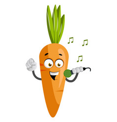 carrot with microphone on white background vector image