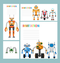 Cartoon card invitation with metal aliens icons vector