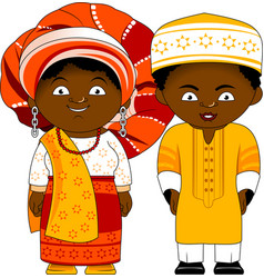 Cheerful african couple from nigeria vector