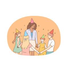 children birthday party friendship concept vector image
