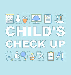 Children check up word concepts banner vector