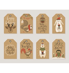 Christmas kraft paper cards and gift tags set hand vector image vector image