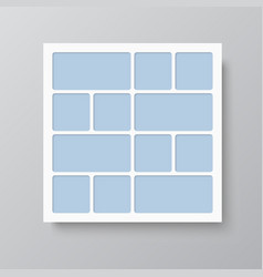 Collage twelve frames photos parts or pictures vector