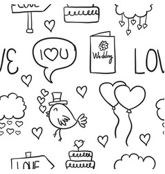 Collection of wedding object doodled style vector