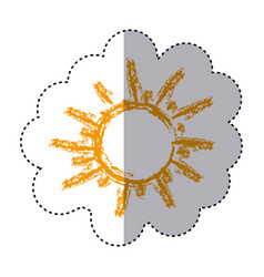 color sticker with hand drawn sun close up vector image