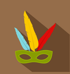 Colorful carnival mask icon flat style vector