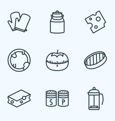 cook icons line style set with kitchen gloves vector image