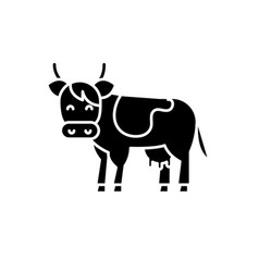 cow black icon sign on isolated background vector image