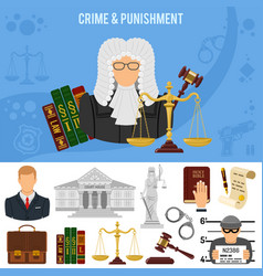 Crime and punishment banner vector