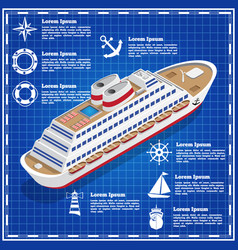cruise liner on a blue background vector image