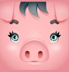 Cute swine girl cute pig woman square cartoon vector
