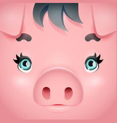 cute swine girl pig woman square cartoon vector image