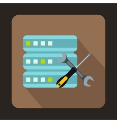 Database with screwdriver and spanner icon vector image