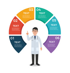 Doctor with circle chart infographic template vector
