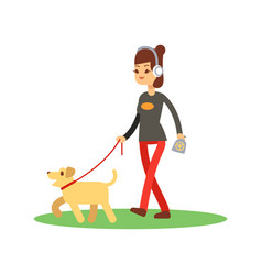 dogs clean walking concept - girl walks dog vector image