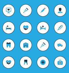 Drug colorful icons set collection of bed vector