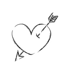 Figure heart symbol of love with arrow style vector