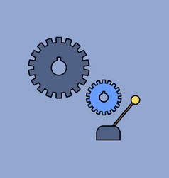 Flat icon design collection gear and transmission vector