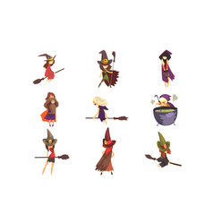 flat set young witches in different vector image