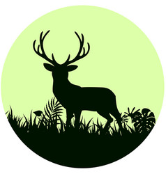 Forest background with wild deer trees on conce vector