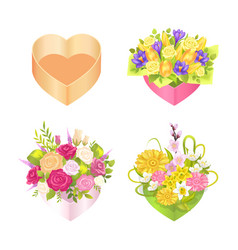 Four colorful boxes with heart s shape color card vector