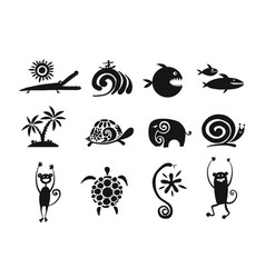 funny animals collection black silhouette for vector image