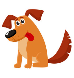 funny dog puppy character sitting with tongue out vector image