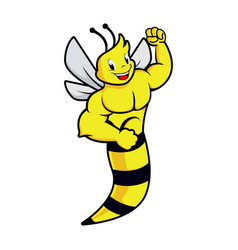 funny strong muscle bee icon vector image