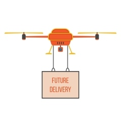 Future delivery with red and yellow quadrocopter vector