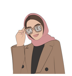 Girl in glasses stylish woman face vector