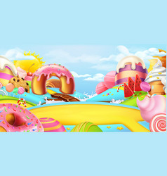 Glade in a candy land sweet landscape 3d panorama vector
