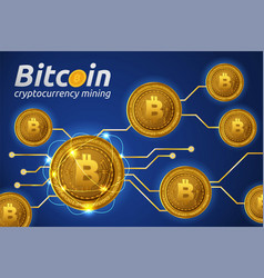 Golden bitcoin in shining light effect on blue vector
