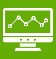graph in computer screen icon green vector image