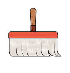 Hand broom with wooden stick in colored crayon vector