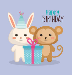 Happy birthday card with tender animal vector