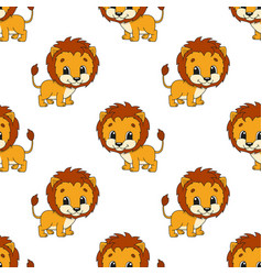 Happy lion colored seamless pattern with cute vector