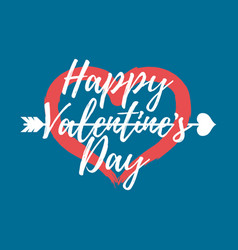 happy valentines day with heart label font with vector image vector image