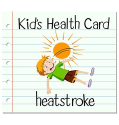 Health card with boy having heat stroke vector image