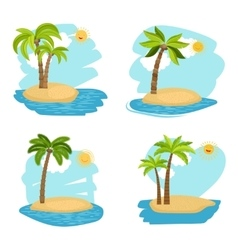 Holiday design coconut palm trees islands vector image