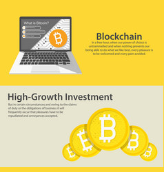 horizontal web banners with blockchain bitcoin vector image