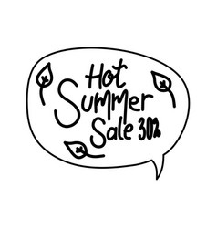 hot summer sale script text design template vector image