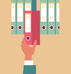 hr manager hand office pulling out red folder vector image