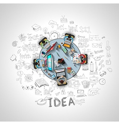 Infographics Teamwork with Business doodles Sketch vector image