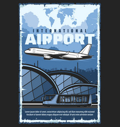 international airport flight shuttle bus transfer vector image