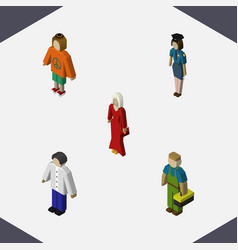 Isometric people set of lady female plumber and vector