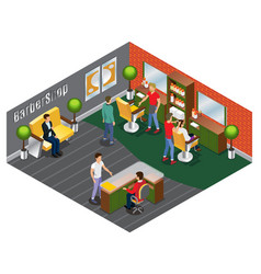 Isometric trendy barber shop template vector