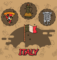 Italy flat icons design vector