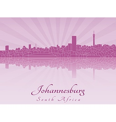 Johannesburg skyline in purple radiant orchid vector